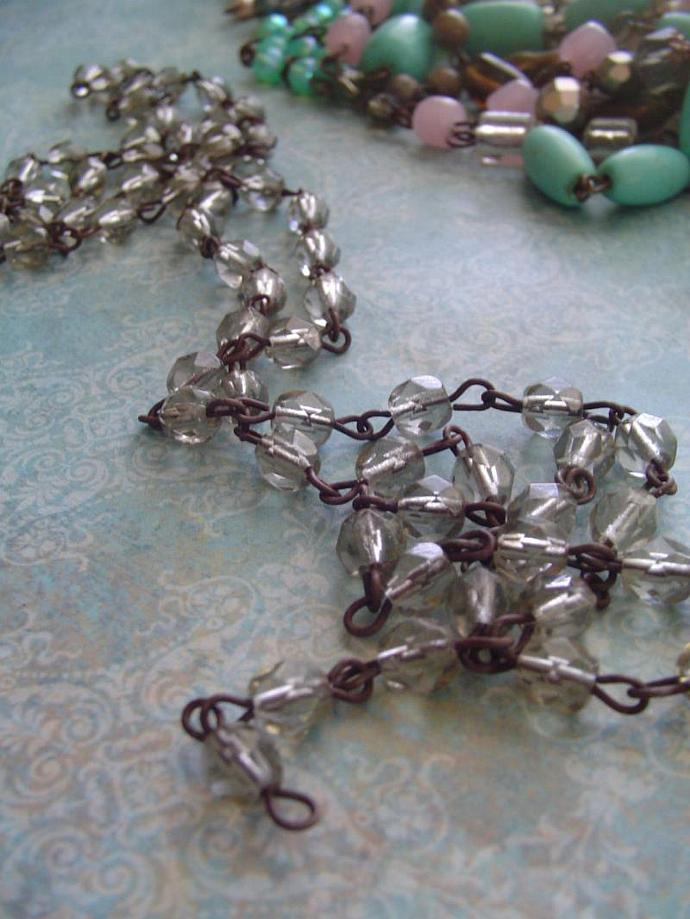 Pale Sparkling Smoky Quartz Faceted glass Beaded Chain Aged Dark Patina wire