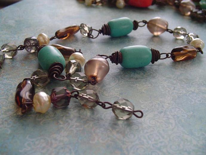 Wire WRapped Turquoise Magnesite Chocolate smokey topaz glass Smokey Quartz