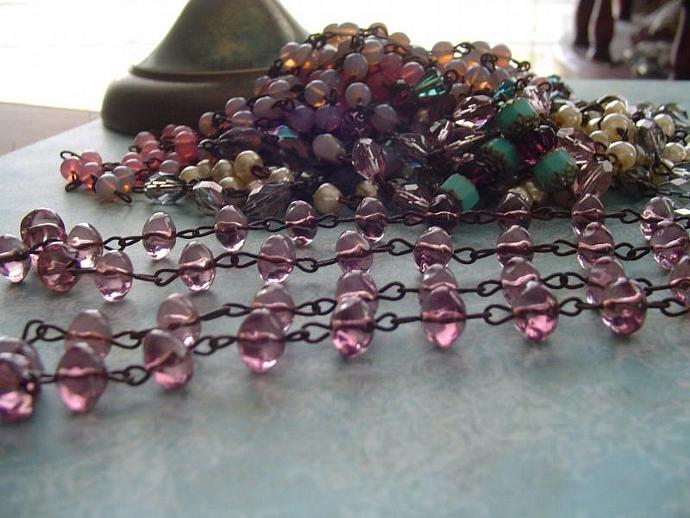 Sparkling Light Amethyst Baroque Rondelles glass Beaded Chain 36 Inches  Aged