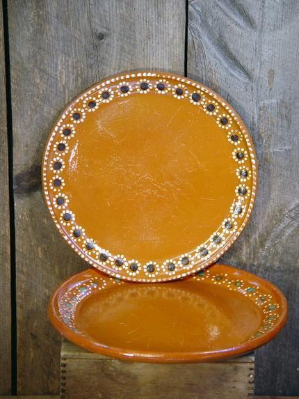 Mexican Terra Cotta Plates Handmade Set Of Two For Summer BBQs & Mexican Terra Cotta Plates Handmade Set by SurrenderDorothy on Zibbet