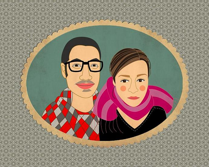 Custom couple portrait .Custom cartoon portrait. Wedding gifts for couple.