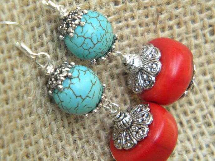 Turquoise Blue and Coral Red Earrings
