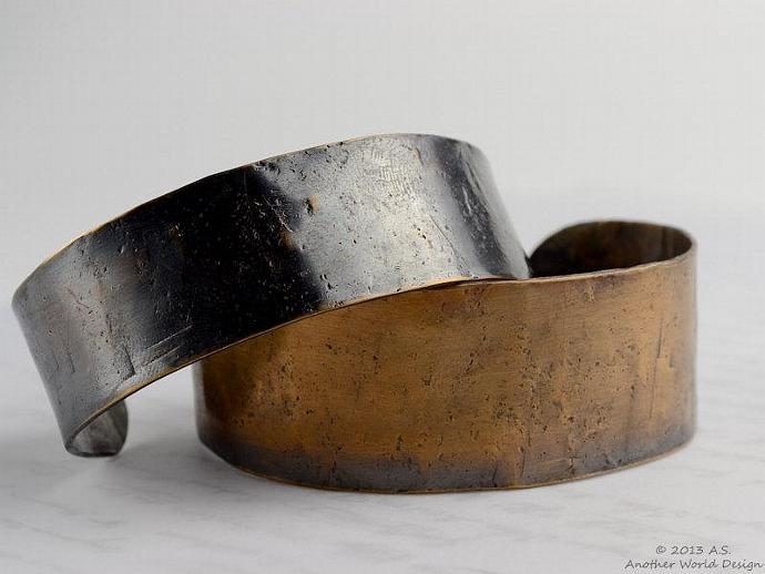 Rustic and Rough Hammered Bronze or Copper Industrial Cuff Bracelet