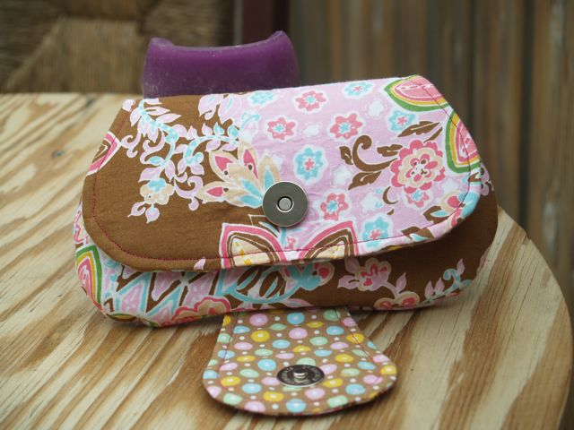 Handmade Pink and Brown Floral Clutch Handbag