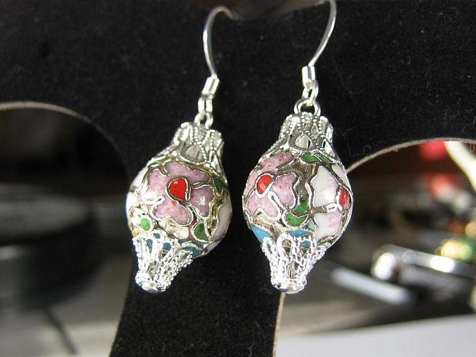 Ornament earrings cloisonne floral silver