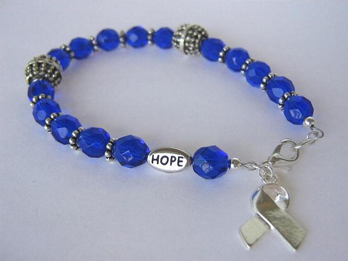 Cancer awareness bracelet blue
