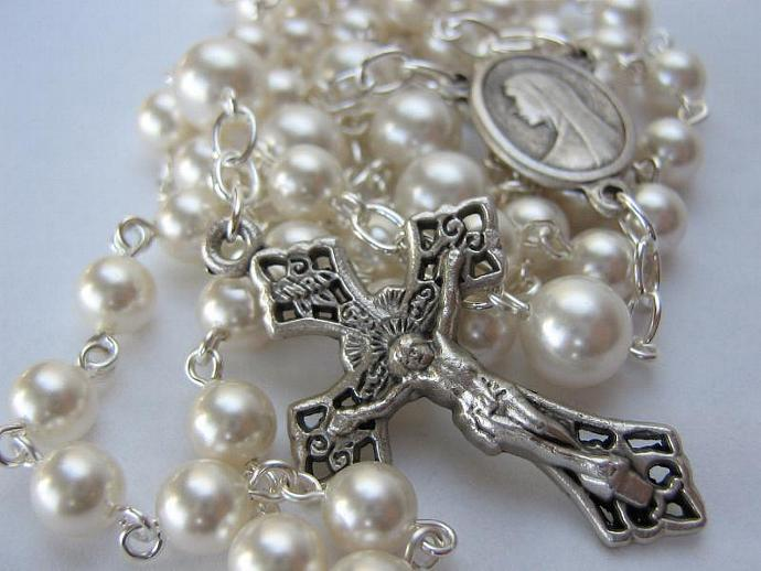 Catholic rosary June birthstone Swarovski pearls