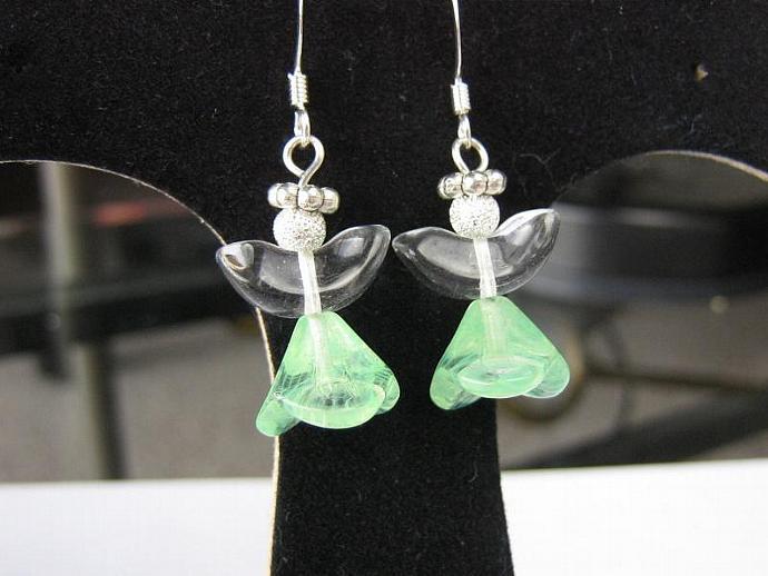 Angel earrings glass wings light green skirt