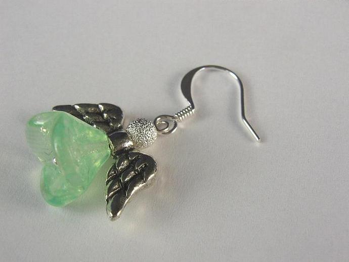 Angel earrings silver wings green skirt