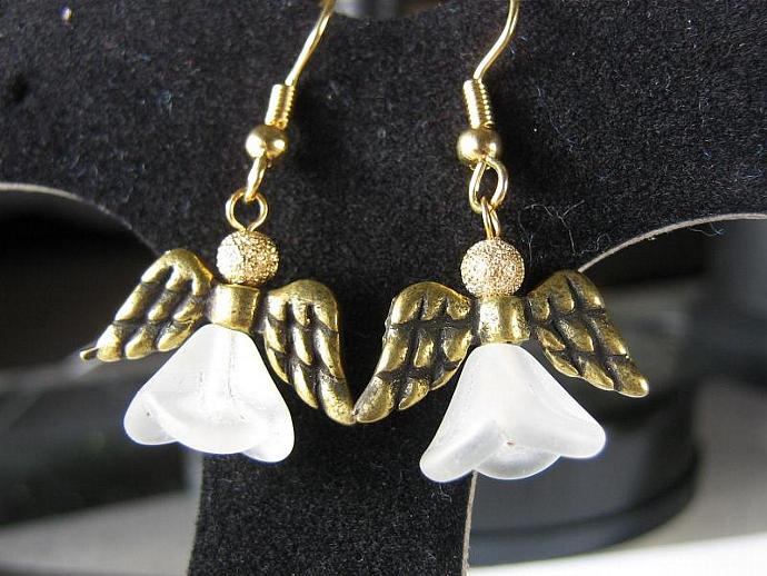 Angel earrings gold wings frosted skirt