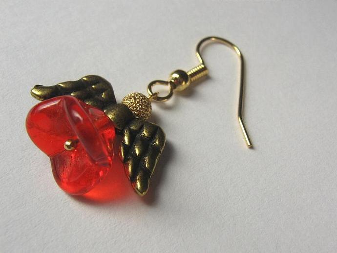 Angel earrings gold wings red skirt
