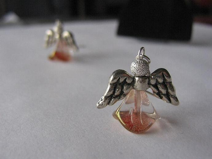 Angel earrings silver wings rose skirt