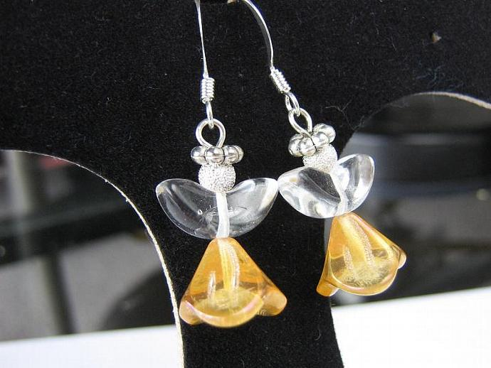 Angel earrings glass wings gold skirt