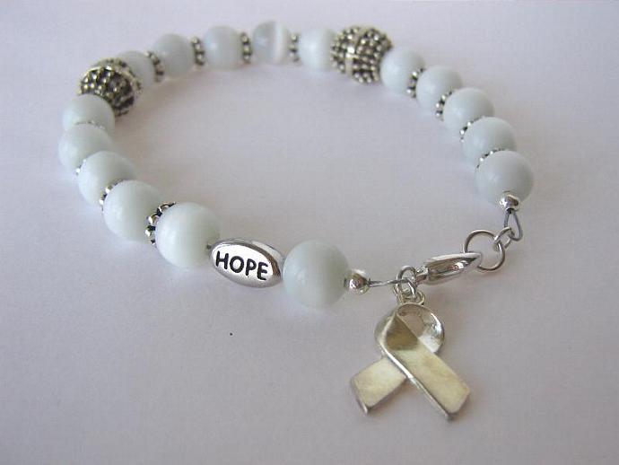 Cancer awareness bracelet white