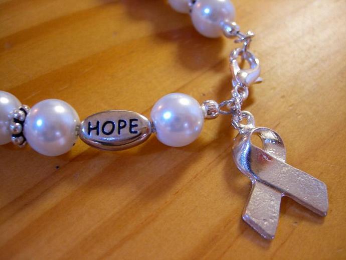 Cancer awareness bracelet pearl
