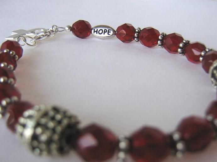 Cancer awareness bracelet burgundy