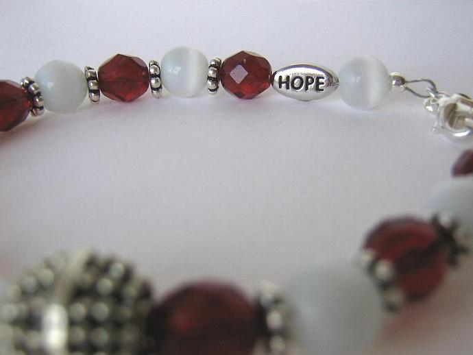 Cancer awareness bracelet burgundy and ivory