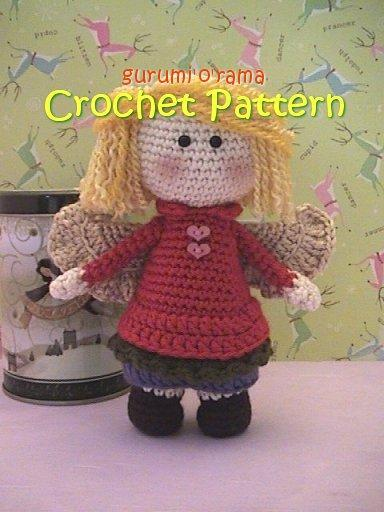 Amigurumi doll crochet pattern, Guardian Angel stuffed plush toy tutorial, PDF
