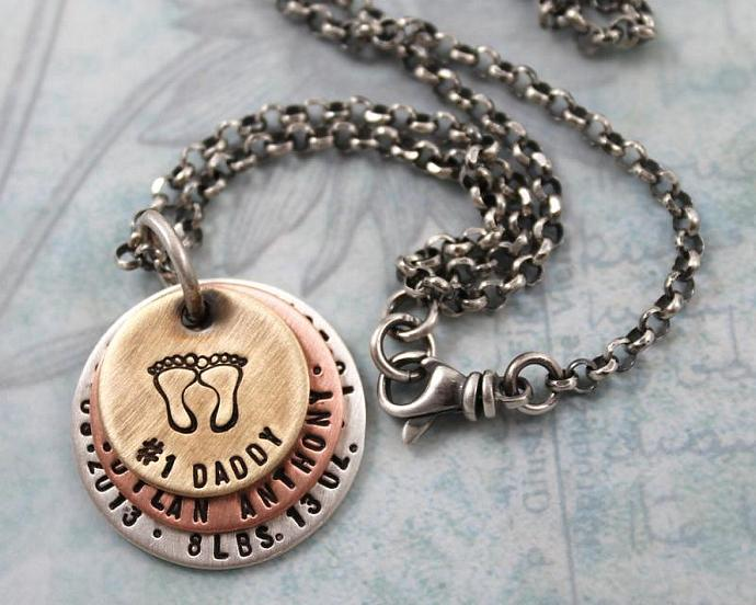 Personalized Necklace with Number 1 Daddy, Gift for New Dad with Baby's Name,