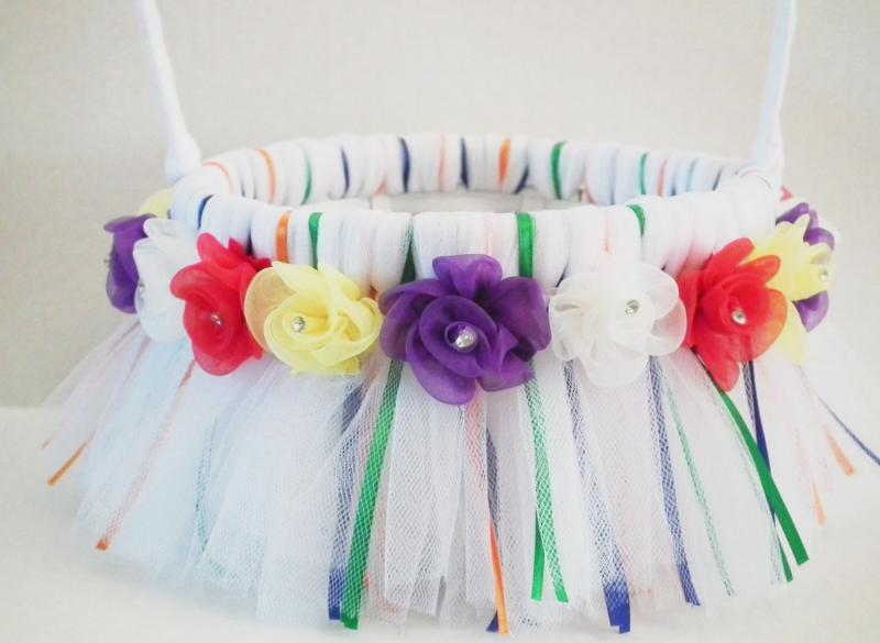 Tulle flower girl basket in rainbow by foreversweethearts on zibbet mightylinksfo