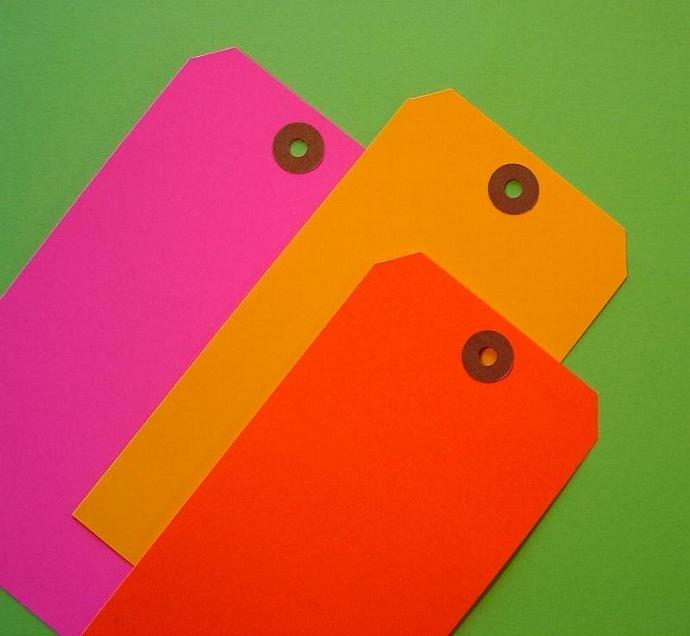 neon shipping tags / assortment / 30 pieces