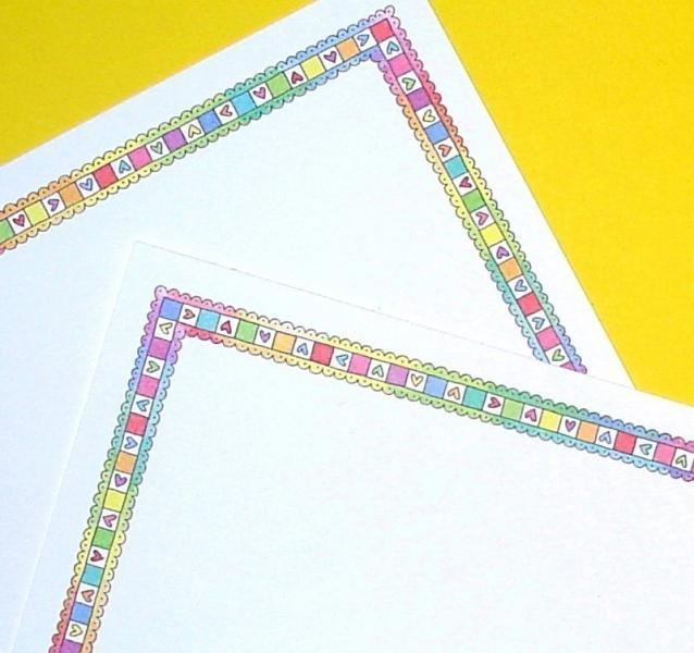 colorful hearts flat stationery cards / SPECIAL SALE ITEM
