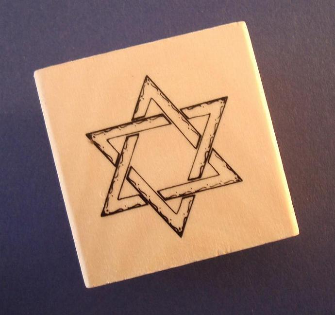 rubber stamp / wood mounted . Star of David