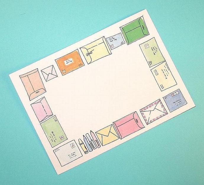 25  flat notecards / colorful envelope motifs