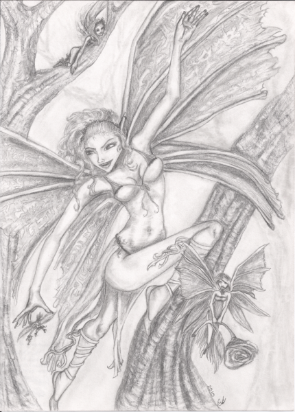 To Catch a Pixie, original, pencil illustration