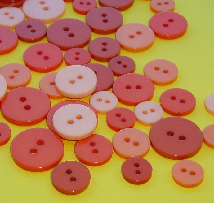 180 shiney glossy orange buttons . big set assortment