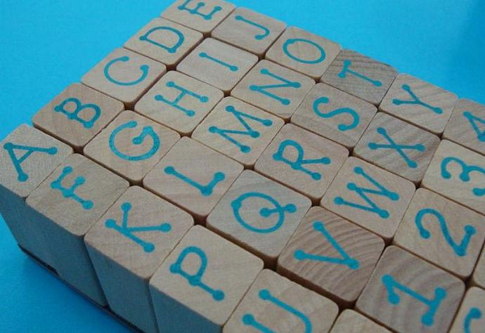 rubber stamp set alphabet numerals / uppercase / 35 pieces
