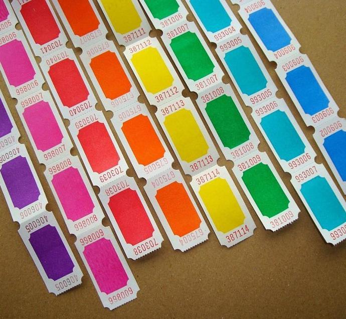 tickets . 16 dozen . 8 colors . super brights on white