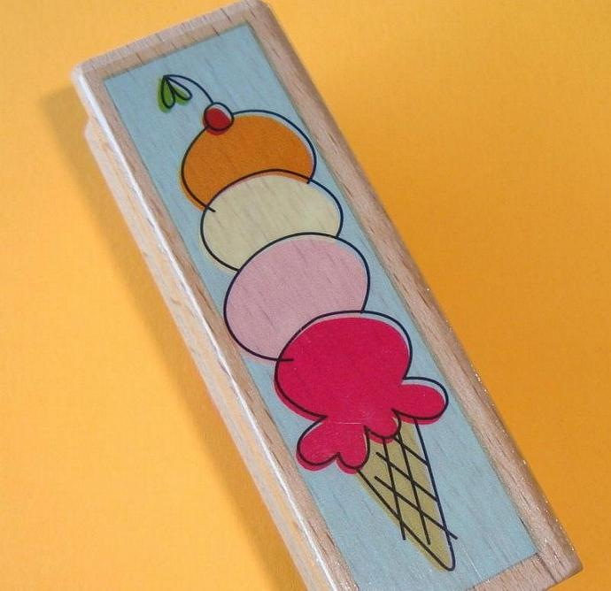 rubber mounted stamp / icecream cone