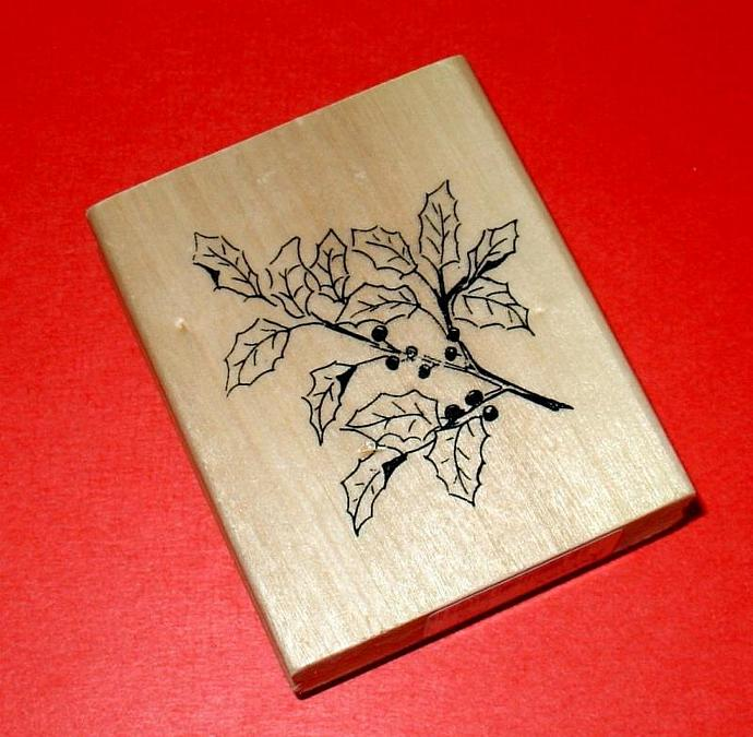 holly berries and leaves for Christmas / rubber mounted stamp