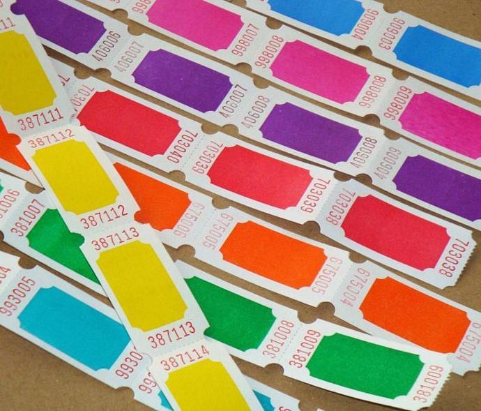 tickets . 16 dozen . 8 colors . super brights on white . rainbow assortment