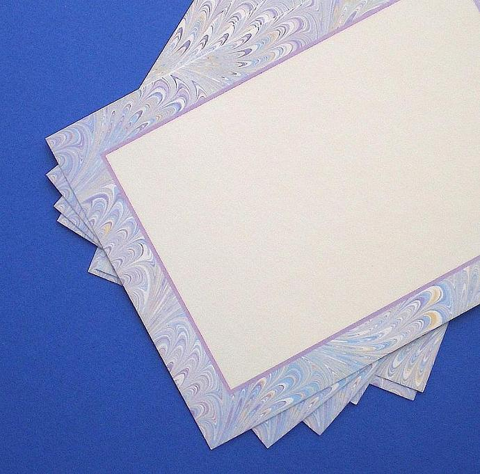 25 flat notecards / blue and periwinkle marble border