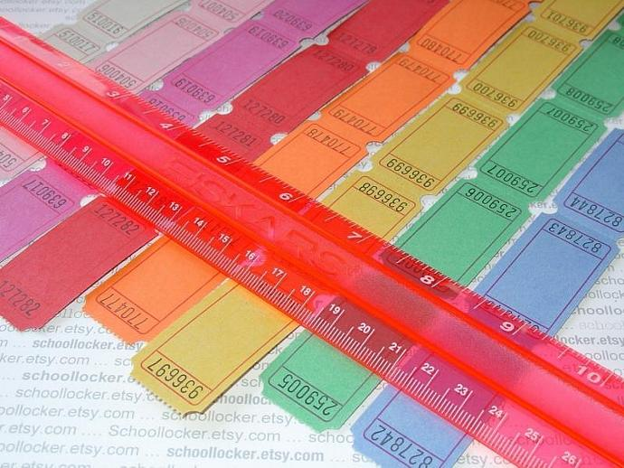 tickets . 16 dozen . 8 colors . super brights on white . rainbow assortment