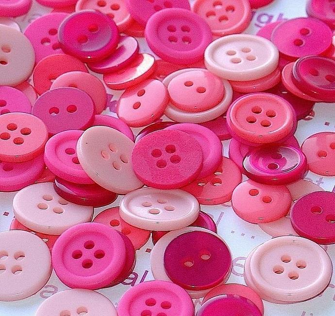 pink magenta buttons . 100 assorted sizes & finishes