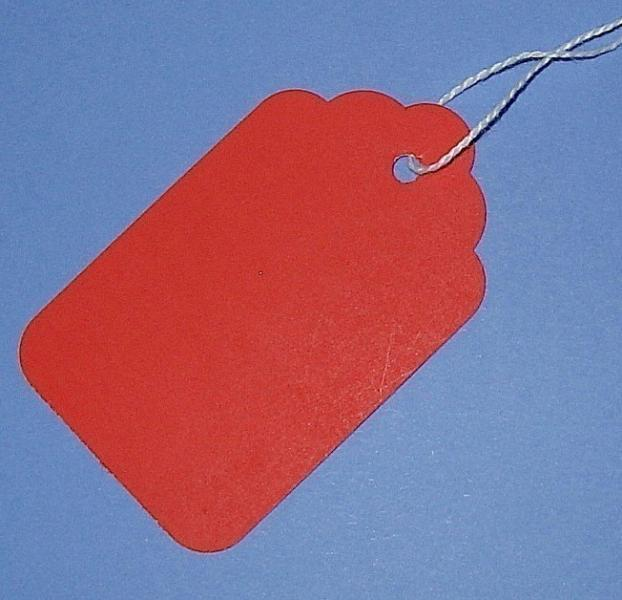25 red paper tags with string