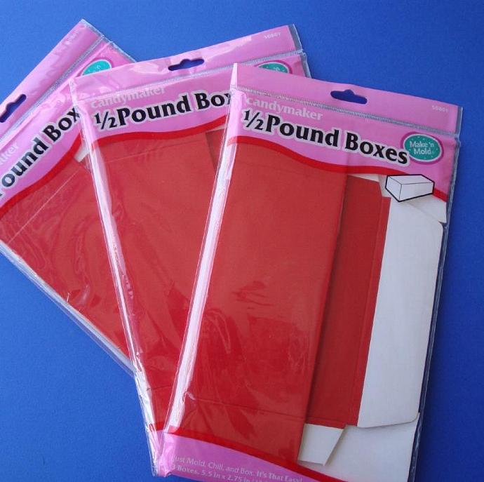 6 RED BOXES flap top food grade boxes for food, candy, more