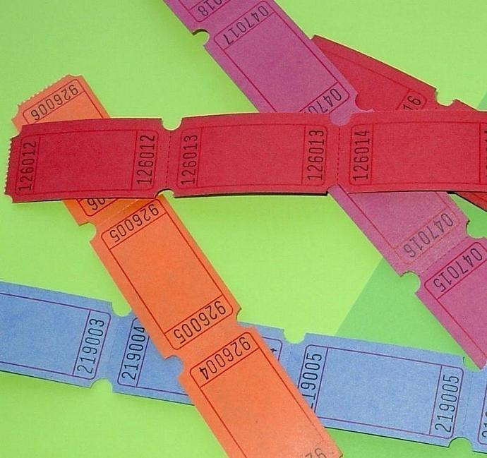 colorful blank tickets / 4 dozen / SPECIAL SALE