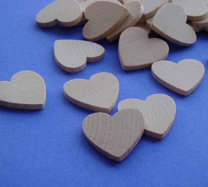 wood heart cut out tiles / 40 pieces