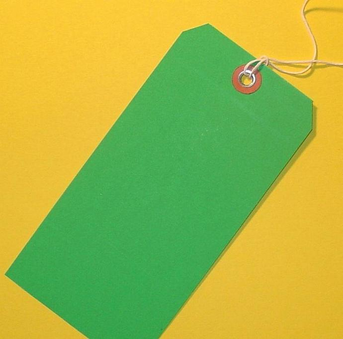 30 green shipping tags with string and grommets