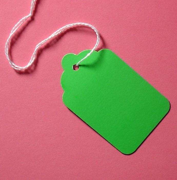 50 green scalloped paper tags with string