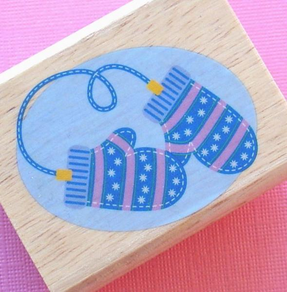 rubber mounted stamp / mittens