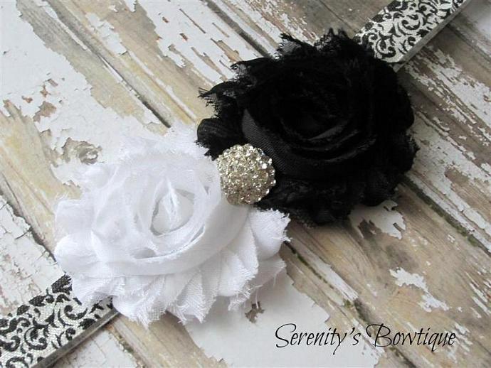 Black & White Shabby Chic Demask Roses Baby Toddler Girl Headband