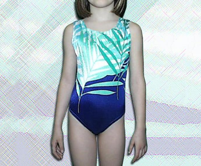 Girls Gymnastics Leotard Childs size 8 & custom sizes  teal navy turquoise fern