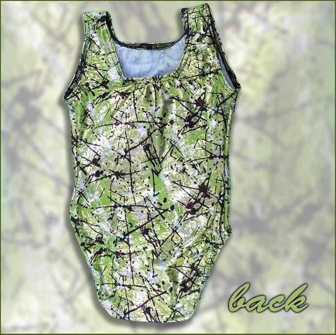 Girls Gymnastics Leotard Child size 6 8 10 12 green black white metallic