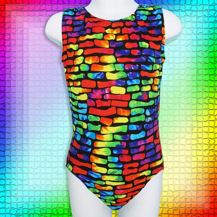 Gymnastics Girls Leotard Child size 4 6 8 10 black rainbow block geometric