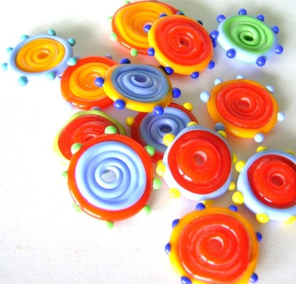 Lampwork Glass Disc Beads Multi Colored Brights